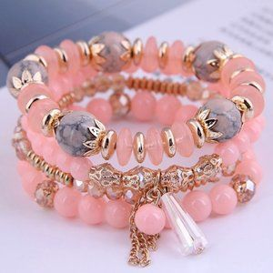 3/$20 New Peach & Gold Beaded Bracelet Set